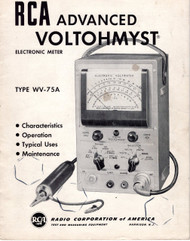 WV-75A Advanced VoltOhmyst Electronic Meter, Booklet | RCA