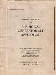 AN/URM-25D R.F. Signal Generator Set, Instruction Book Navy | Trad Electronics Corp.