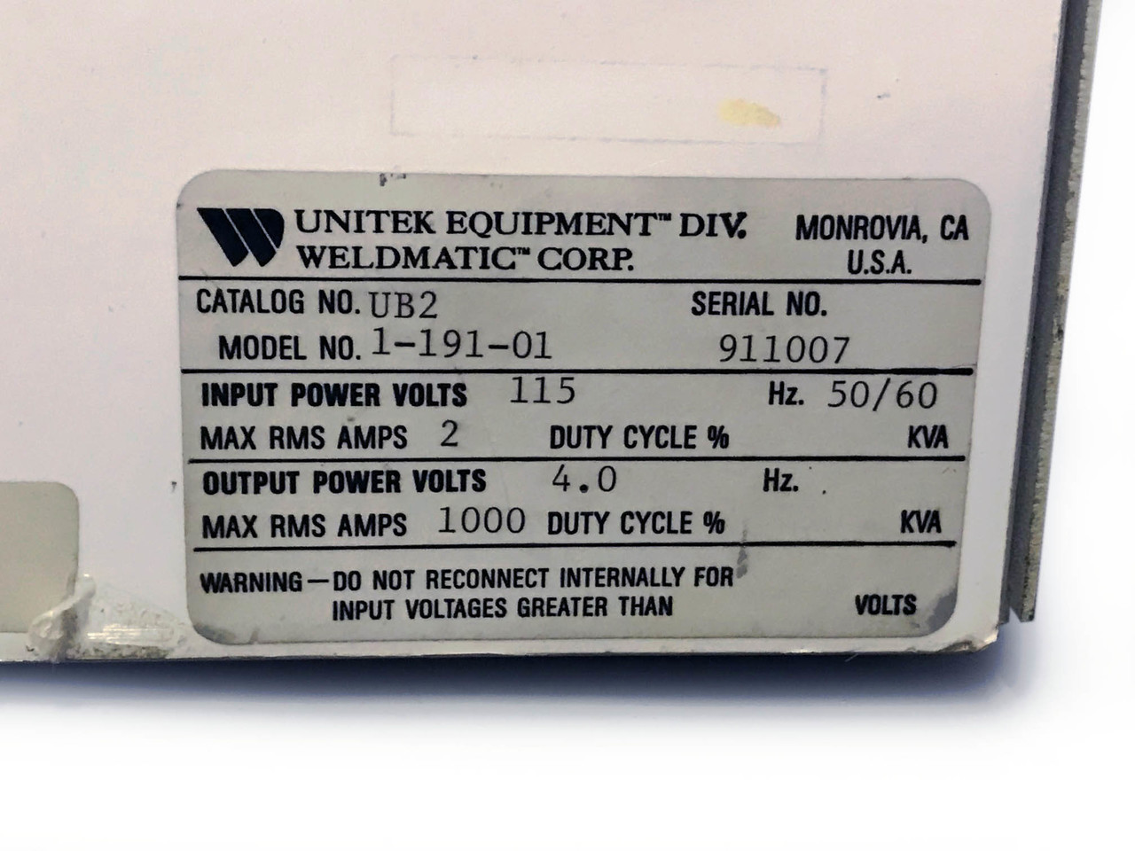 unitek unibond ii welding bonding power supply ub2 1 191 01 rh techrecovery com