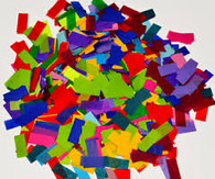 confetti by the pound, confetti, bulk confetti, rectangle confetti, wedding confetti, night club confetti, nightclub confetti, confetti for all occasions, colorful confetti