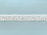 White Edge Stretch Lace Trim With Beads and Sequins - 1'' (WT0100U02)
