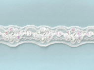 White Scalloped Stretch Lace Trim With Beads and Sequins - 1.5'' (WT0112U04)