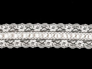 """White Galloon Lace Trim with Lace Ribbon Lace - 2.5"""" (WT0212U05)"""