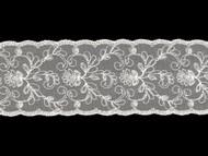 """Off White Galloon Lace with Embroidery - 2.8750"""" (WT0278G01)"""