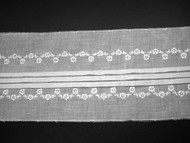 """Off White Embroidered, Pleated Trim - 5.25"""" (WT0514E01)"""