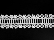 """White Novelty Lace Trim - Embroidered - 1.625"""" (WT0158N01)"""