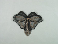 """Black & Tan Embroidered Netting Applique - 4"""" wide x 3.5"""" (APM066)"""