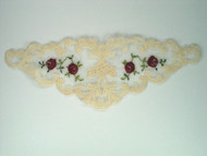 "Beige Netting Yoke w/ Red rose embroidery - 7.5"" x 2.75"" (APY007)"