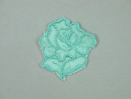 "Aqua Embroidered Satin Rose Applique - 1.75"" wide x 2"" Tall (APM063)"