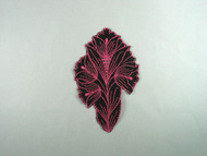 """Black & Light Rose Embroidered Satin Applique - 6.375"""" x 4"""" (APM079)"""