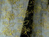 "Black & Gold Sheer Jacquard Rose Fabric - 120"" (MCAL01)"