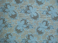 "Black Stretch Ace Lycra Fabric w/ raised Blue & Off White Print - 58"" (MCAL06)"