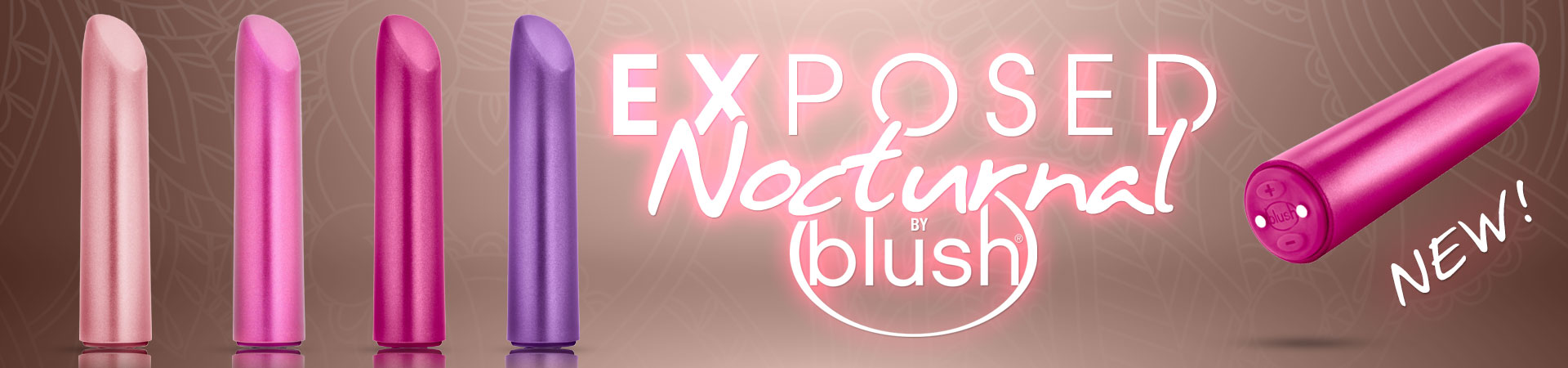 "NEW! Exposed Nocturnal by Blush - ""We are not bragging here, just telling the truth. These are incredibly strong and rumbly! Please power one up and compare to anything you've ever felt."" - Ducky DooLittle, Sex Educator"
