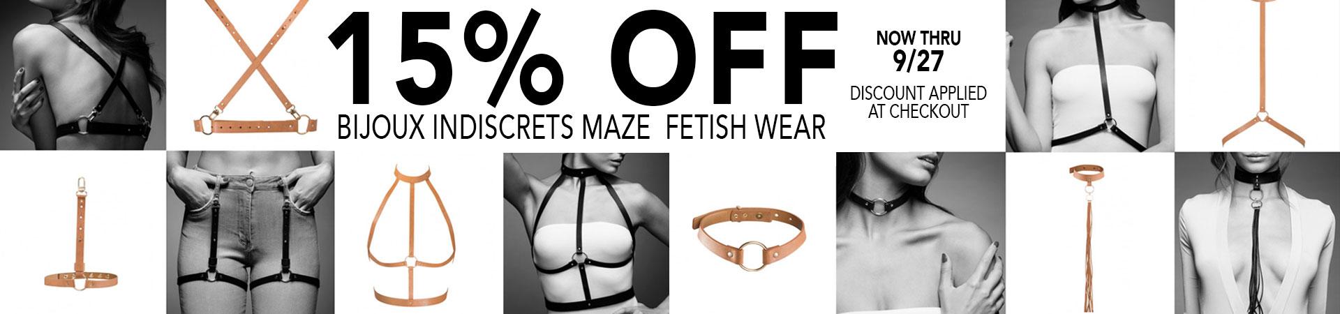 15% Bijoux Indiscrets Maze Fetish Wear - Now Thru 9/27 - Discount Applied At Checkout
