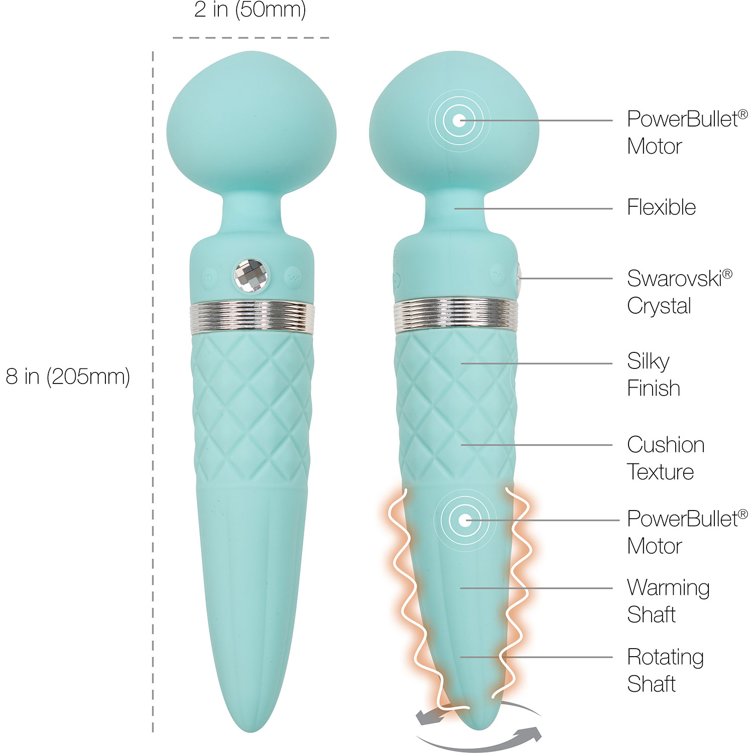 Pillow Talk Sultry Silicone Waterproof Rechargeable Wand Style Vibrator - Measurements
