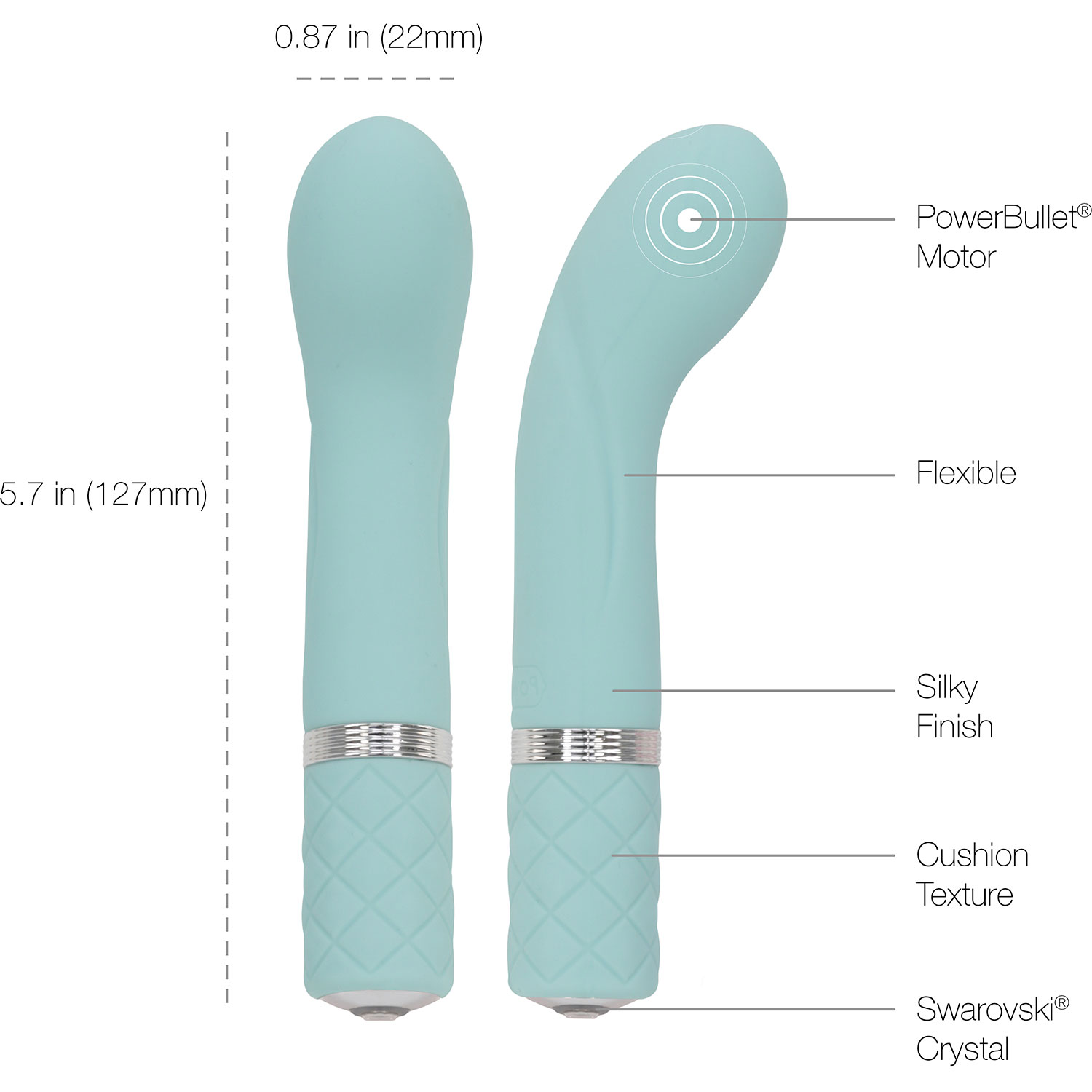 Pillow Talk Racy Silicone Waterproof Rechargeable G-Spot Vibrator - Measurements