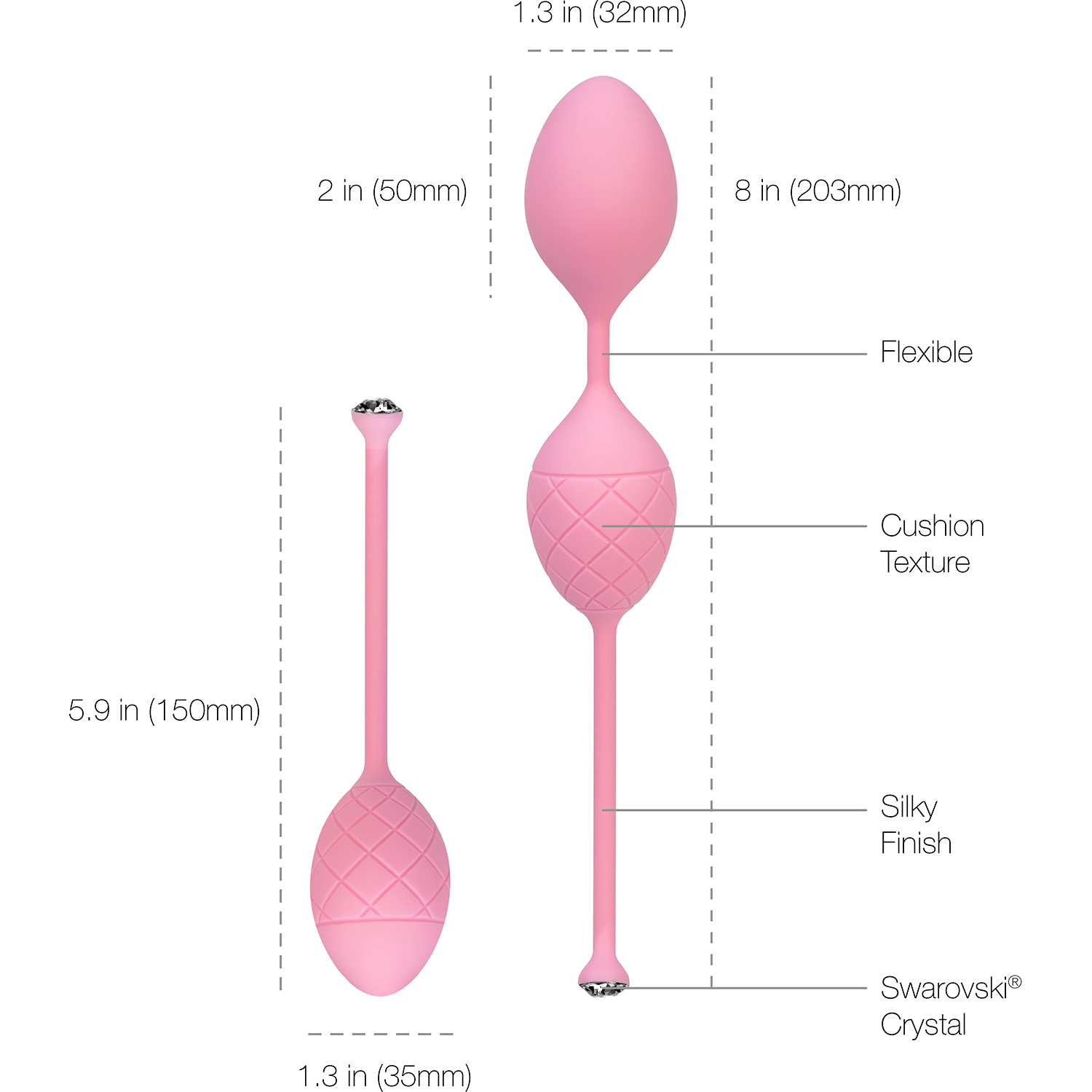 Pillow Talk Frisky Silicone Kegel Balls - Measurements
