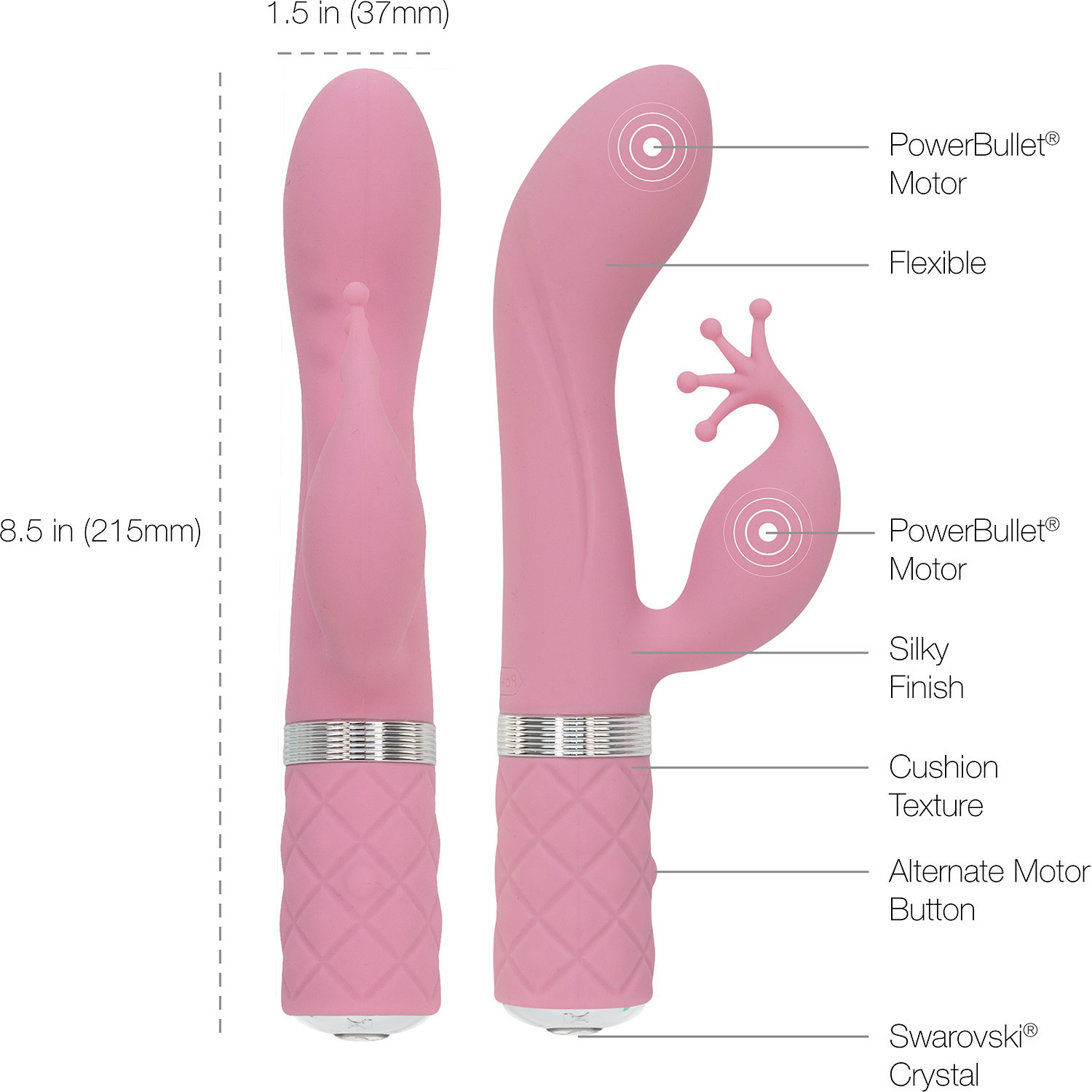 Pillow Talk Kinky Silicone Waterproof Rechargeable Dual Stimulation Vibrator - Measurements