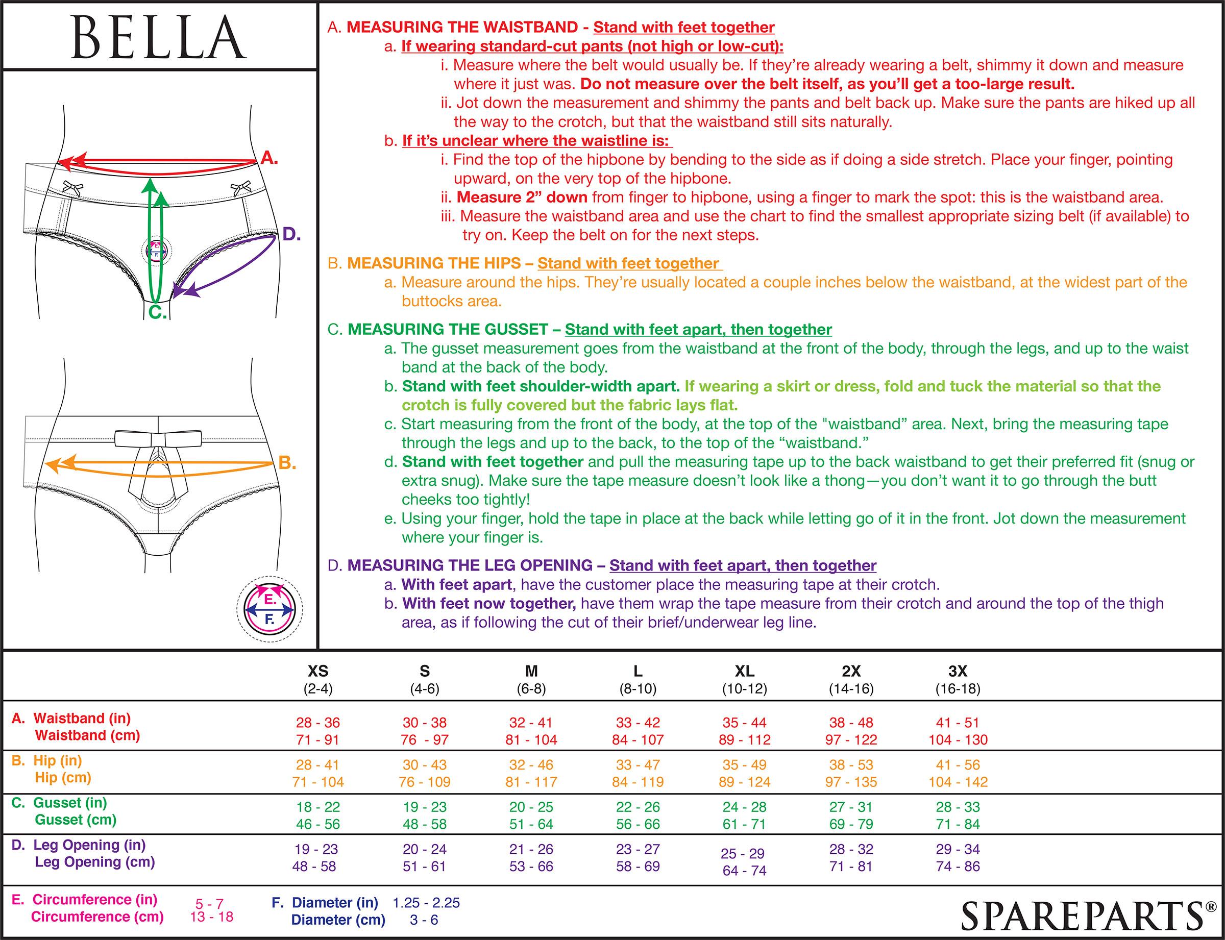 Bella Harness Size Chart