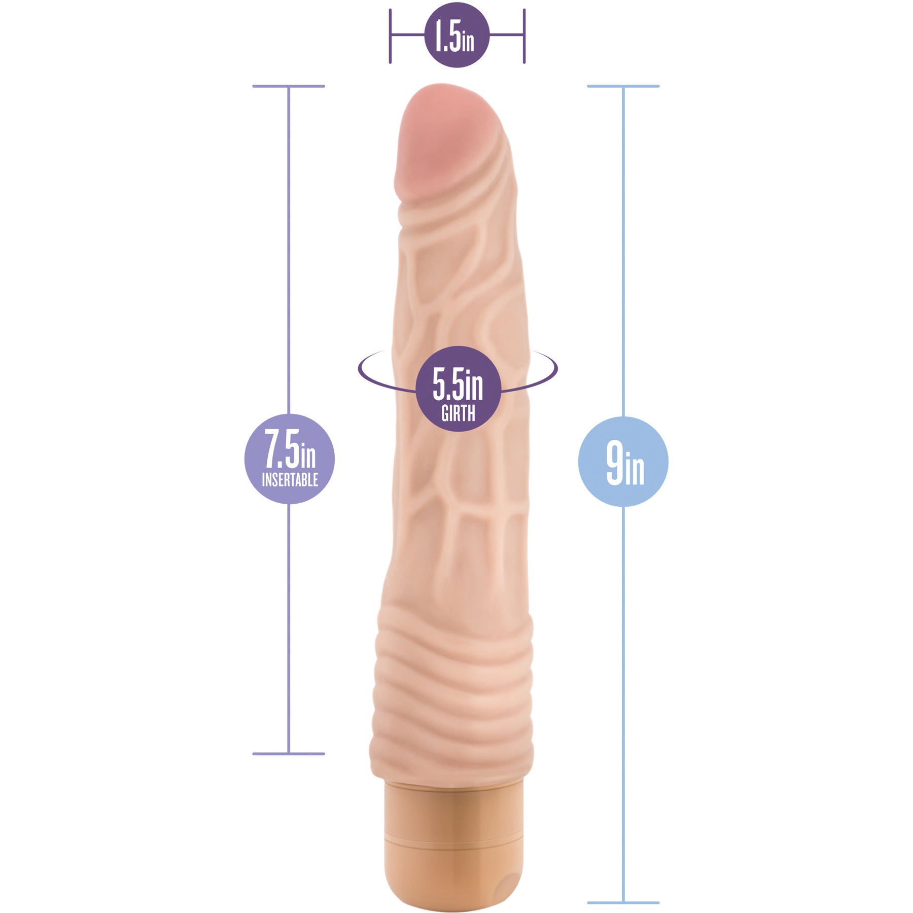 Dr. Skin Cock Vibe 2 - 9 Inch Vibrating Realistic Cock - Measurements