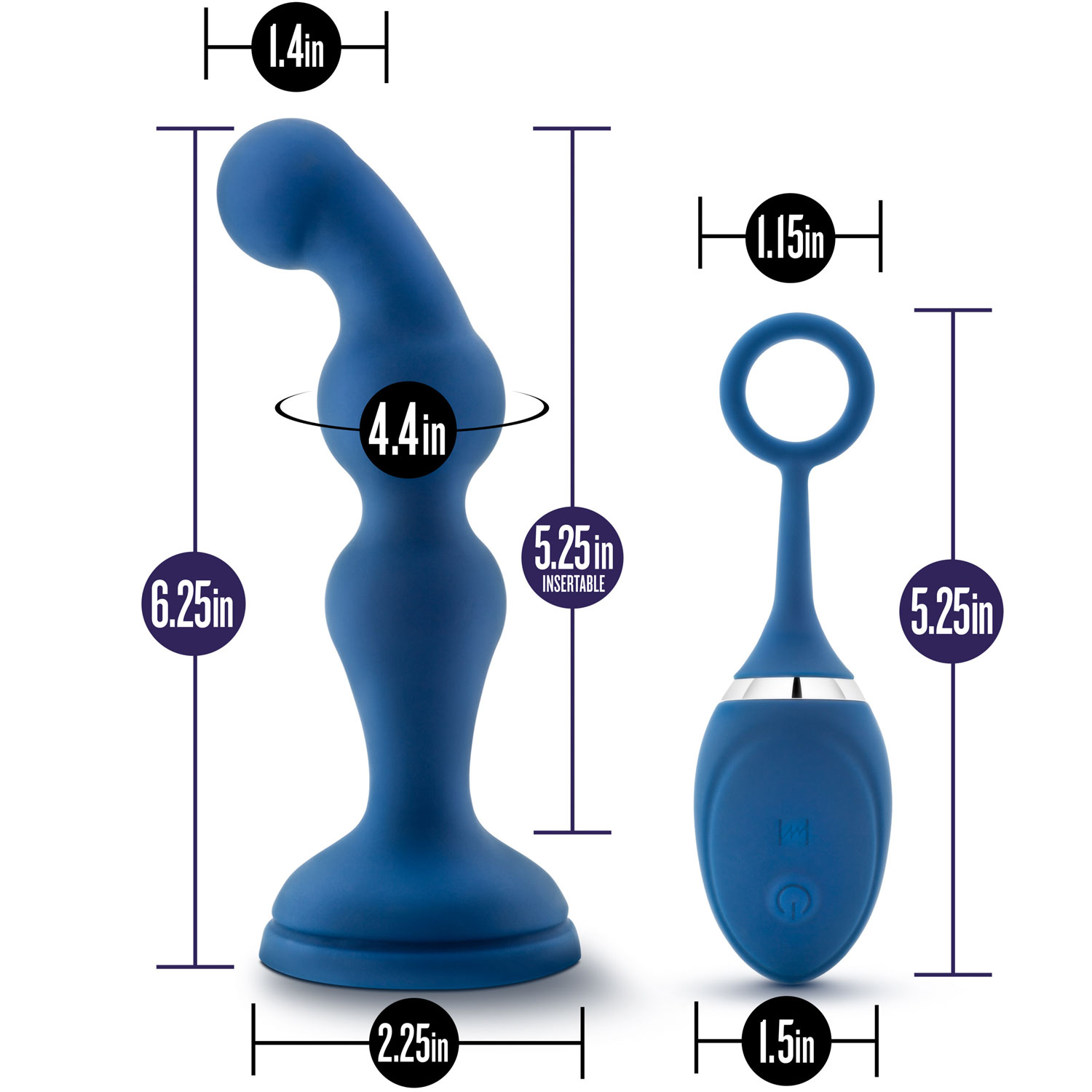 Performance Plus Cannon Rechargeable Prostate Massager - Measurements