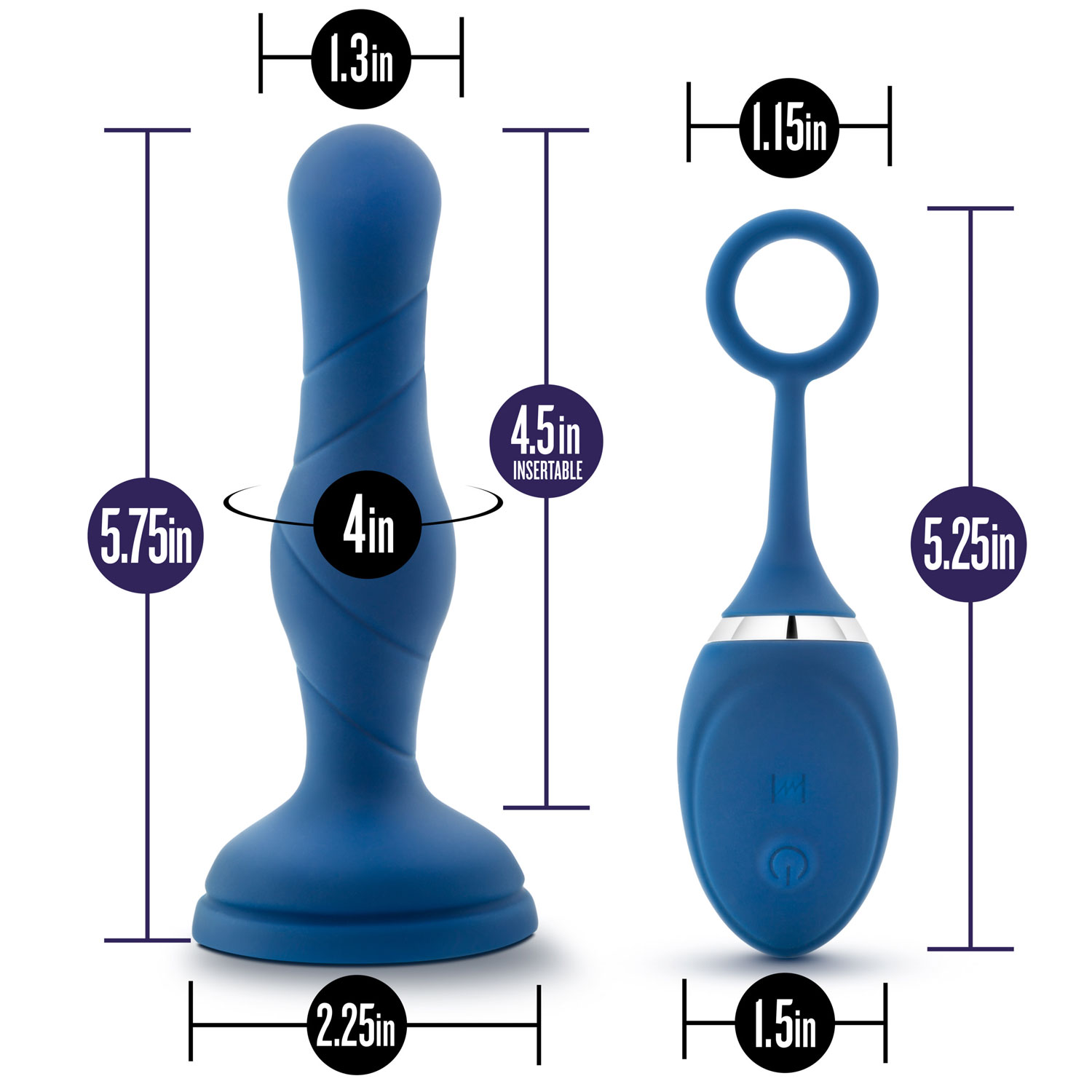 PPerformance Plus Dynamo Rechargeable Silicone Butt Plug - Measurements