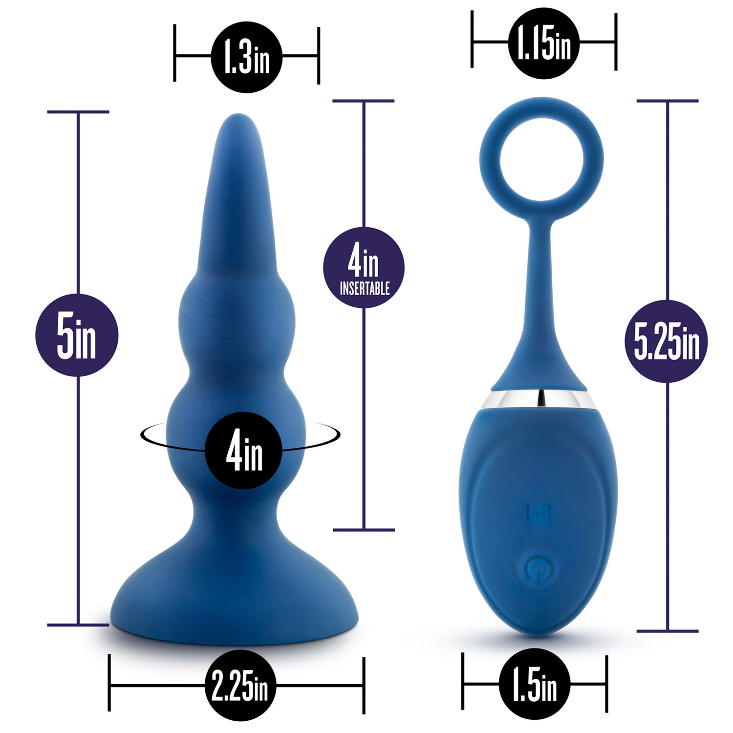 Performance Plus Sonic Rechargeable Silicone Butt Plug - Measurements