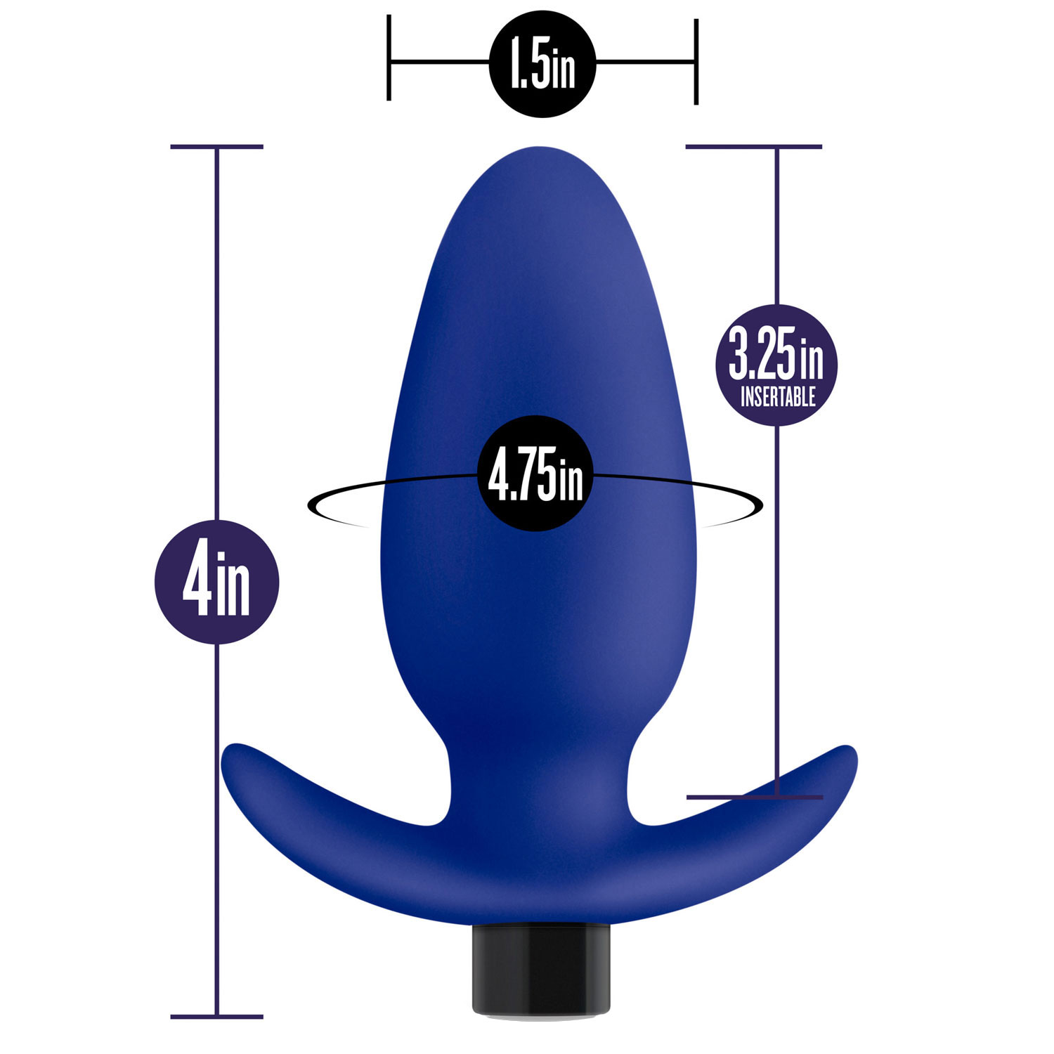 Performance Plus Turbo Rechargeable Silicone Butt Plug - Measurements