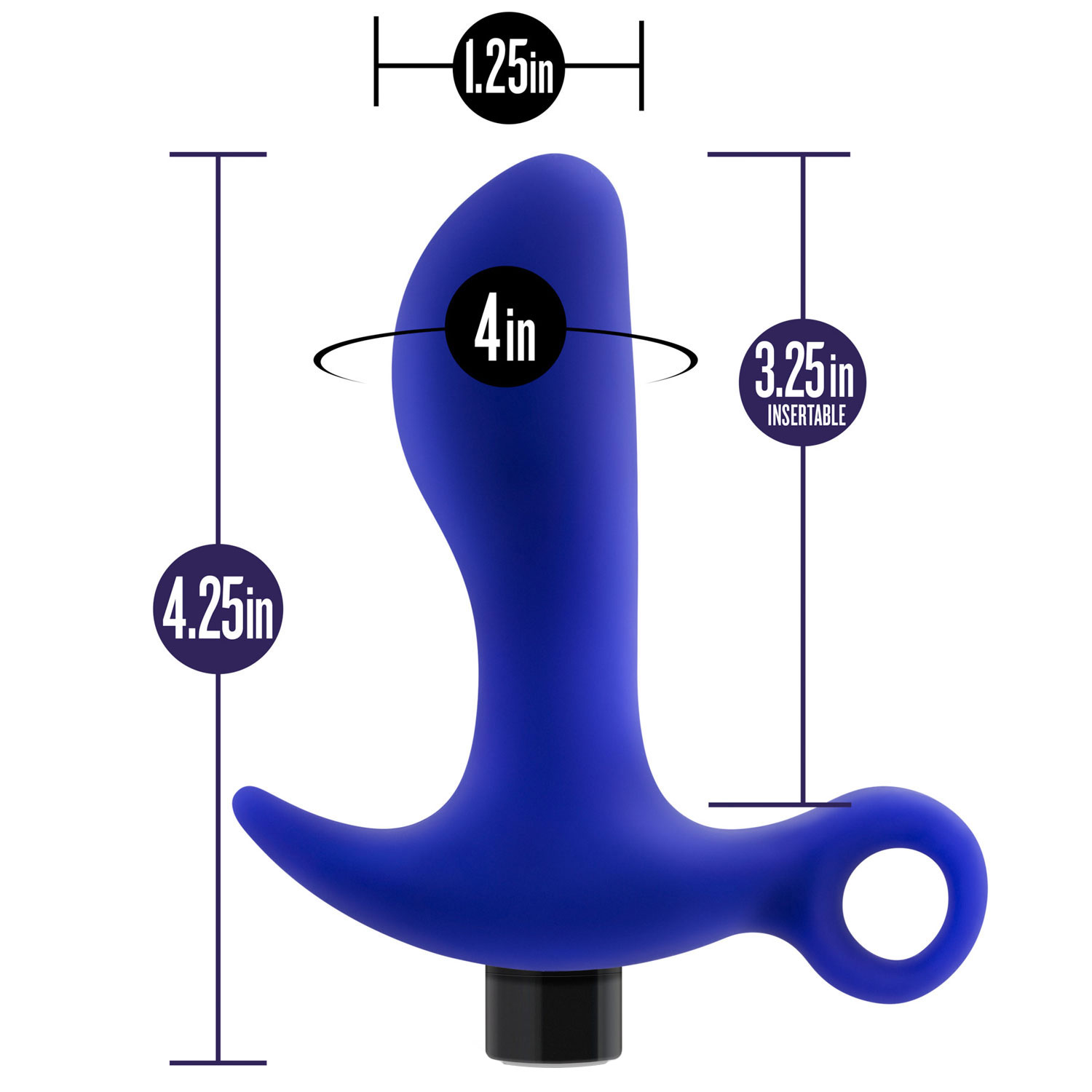 Performance Plus Supra Rechargeable Silicone Prostate Massager - Measurements