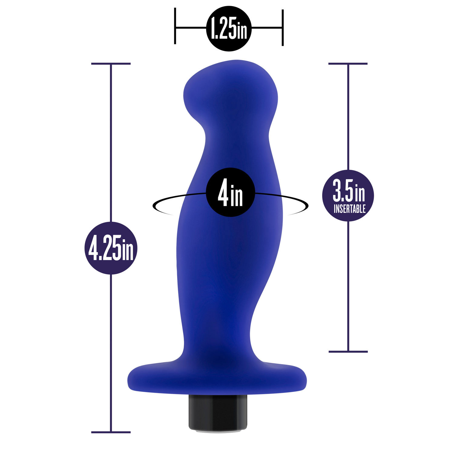 Performance Plus Factor Rechargeable Silicone Prostate Massager - Measurements