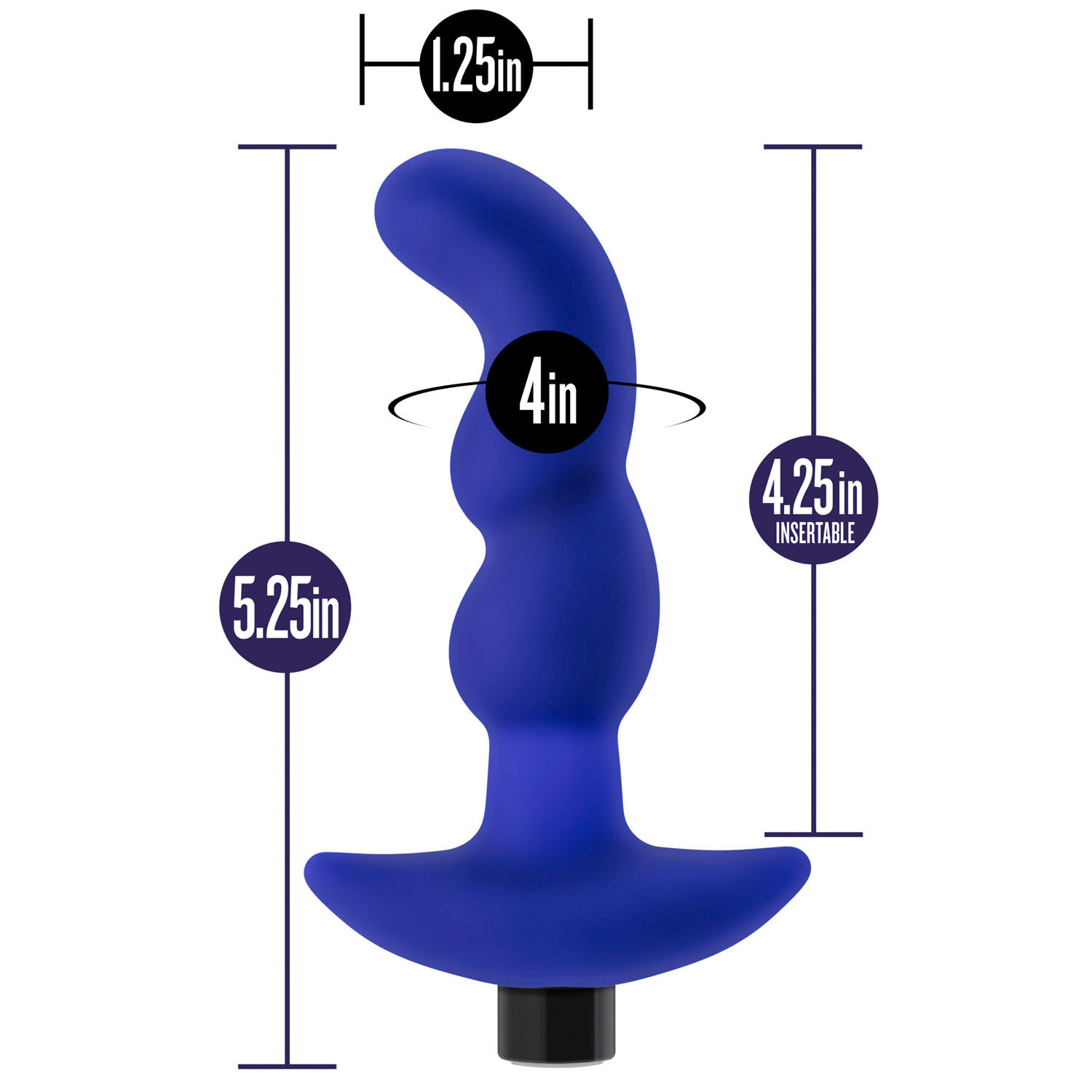 Performance Plus Charger Rechargeable Silicone Prostate Massager - Measurements