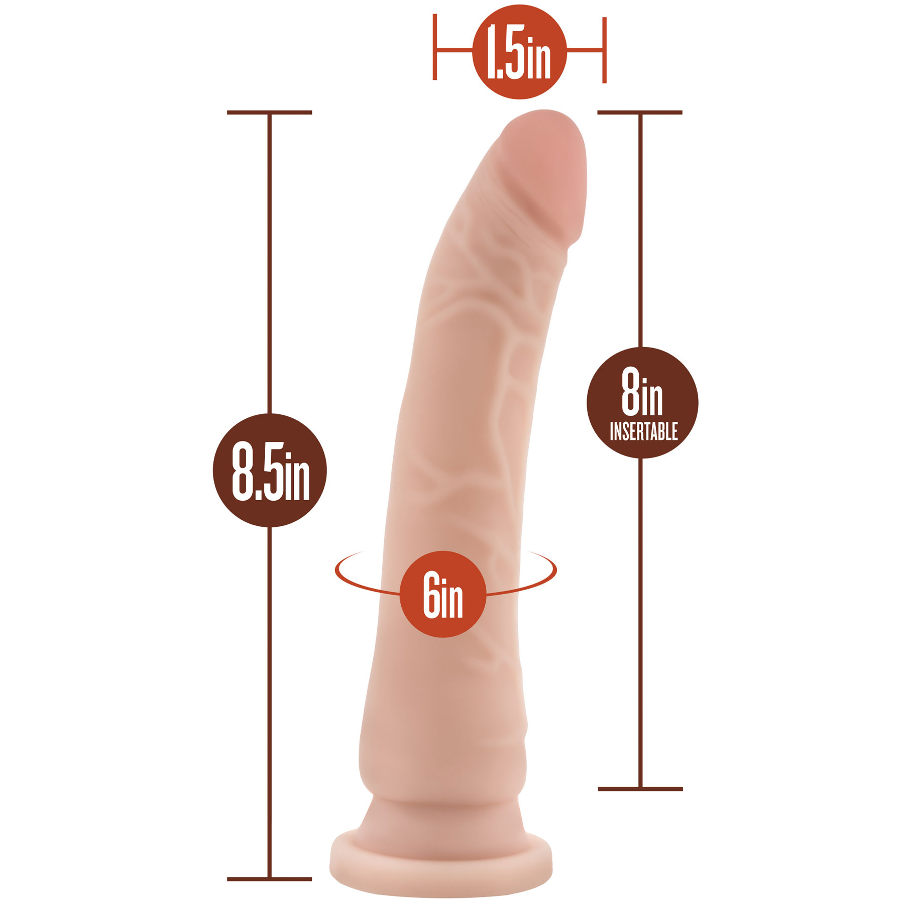 Silicone Willy's 8.5 Inch Silicone Suction Cup Dildo - Measurements