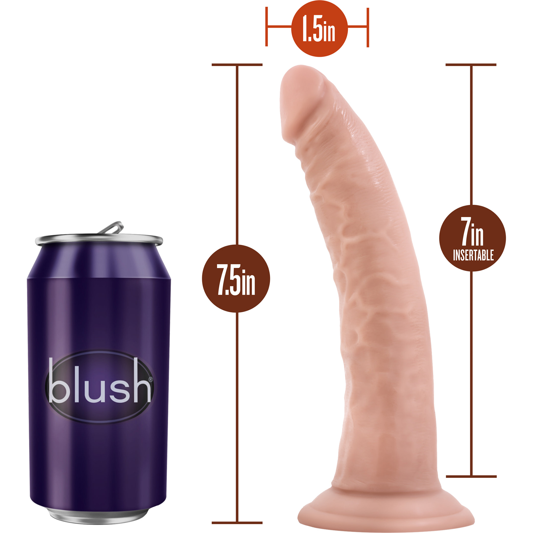 Dr. Skin 7 Inch Basic Realistic Dildo With Suction Cup by Blush - Measurements