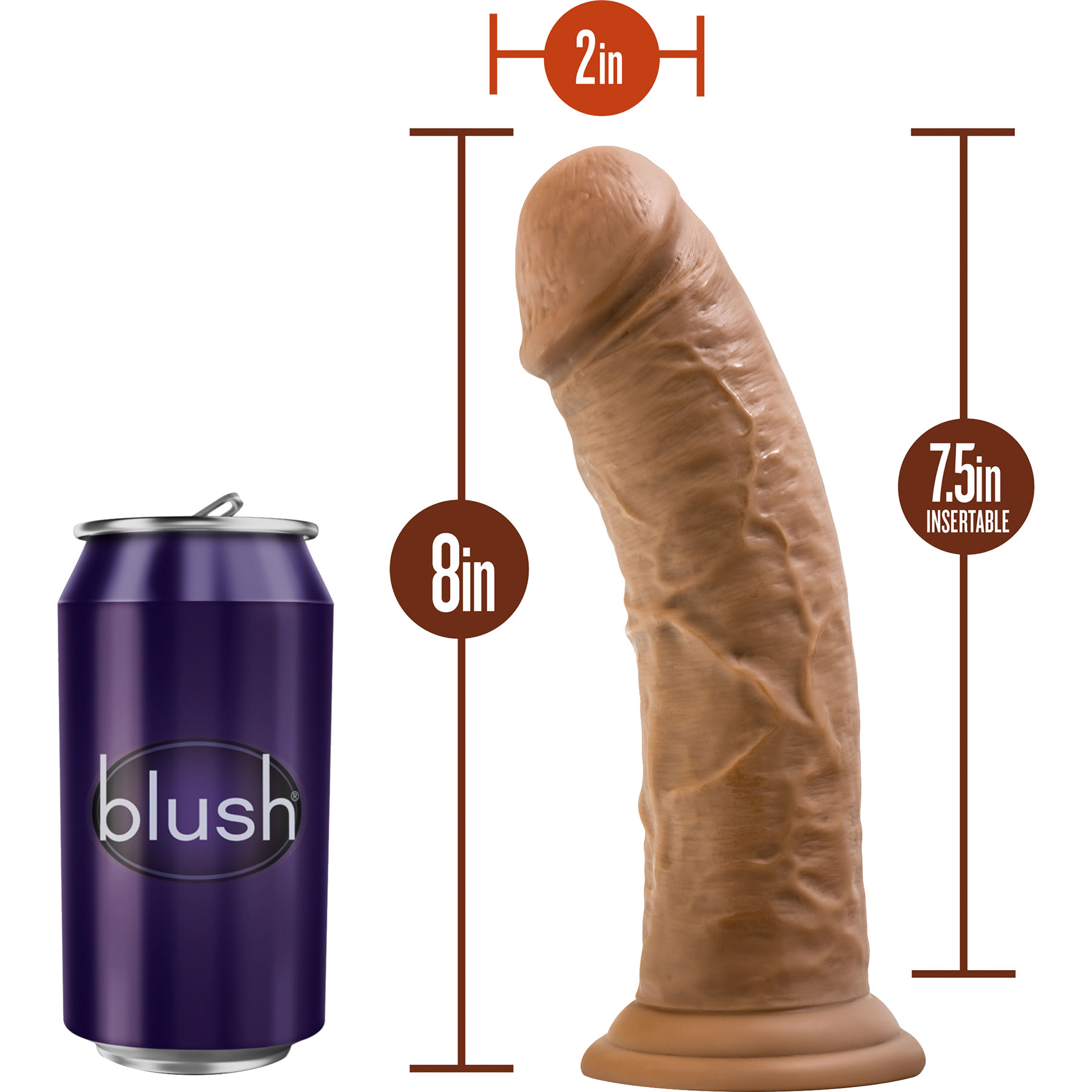 Dr. Skin 8 Inch Basic Realistic Dildo With Suction Cup by Blush - Measurements