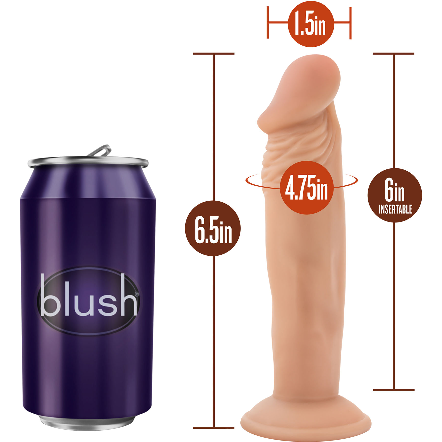 Dr. Skin Dr. Small Realistic Dildo With Suction Cup - Measurements