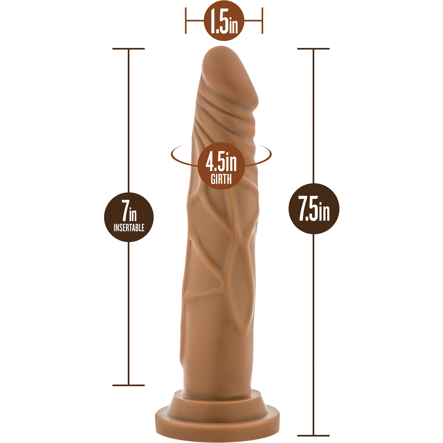 Dr. Skin 7.5 Inch Basic Realistic Dildo With Suction Cup by Blush - Measurements