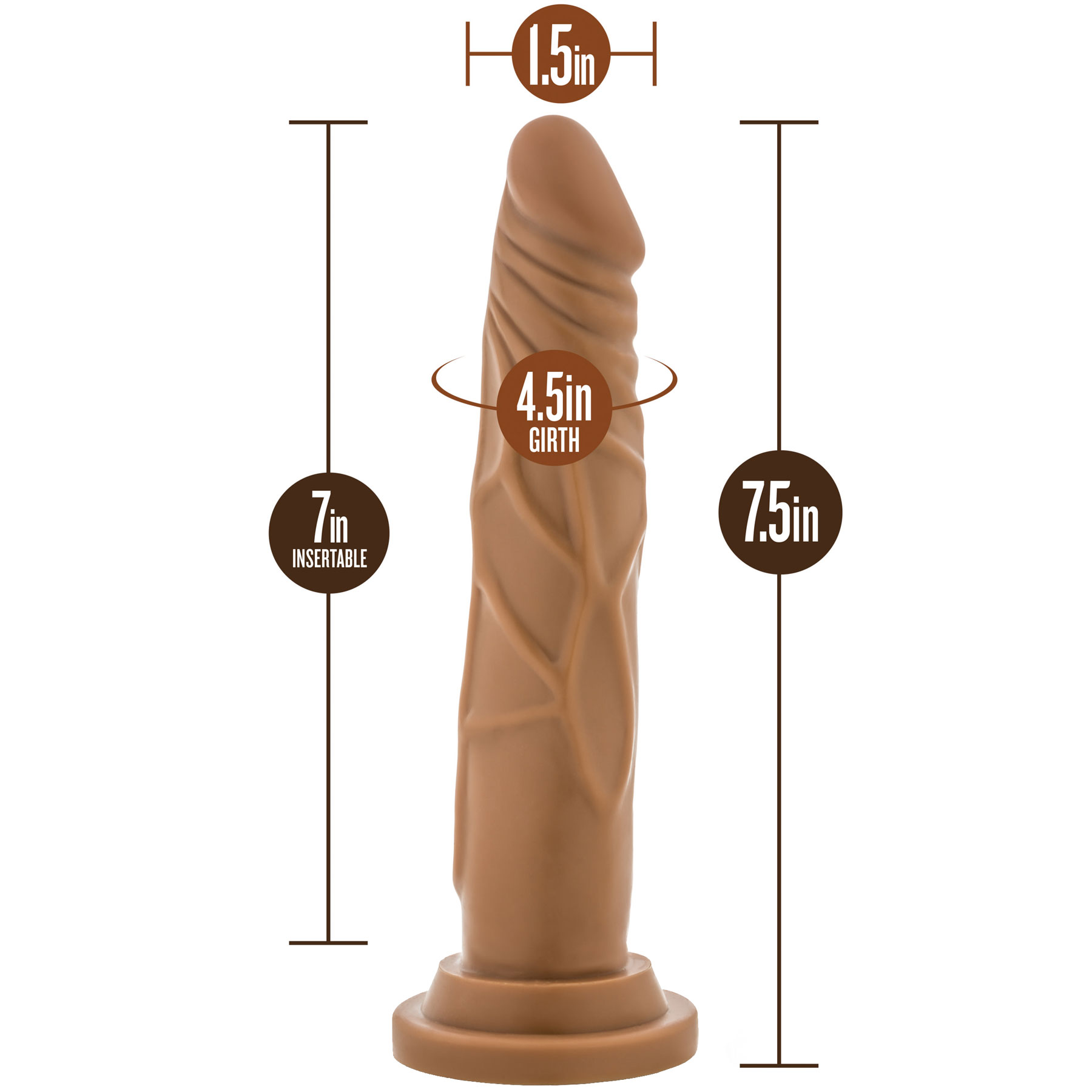 Silicone Willy's 7.5 Inch Silicone Suction Cup Dildo - Measurements