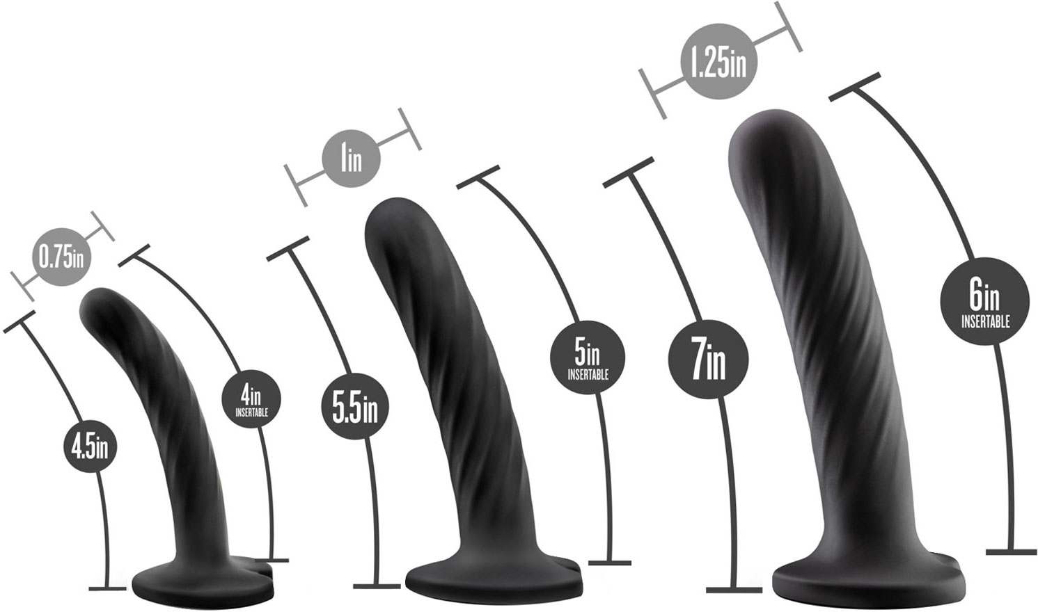 Temptasia Twist Kit - Set of Three Dildos - Measurement