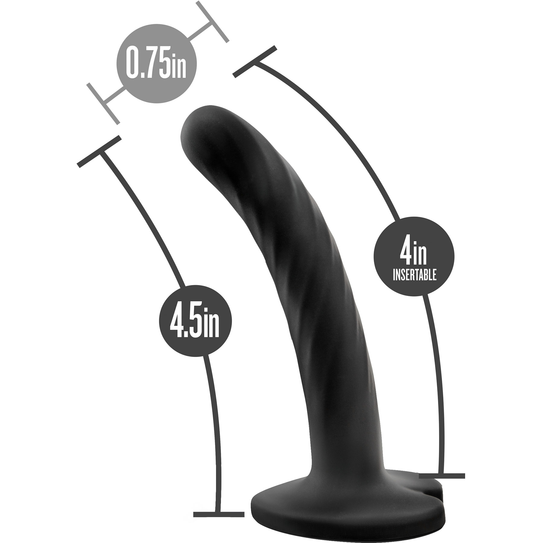 Temptasia Twist Silicone Dildo By Blush Small - Measurement