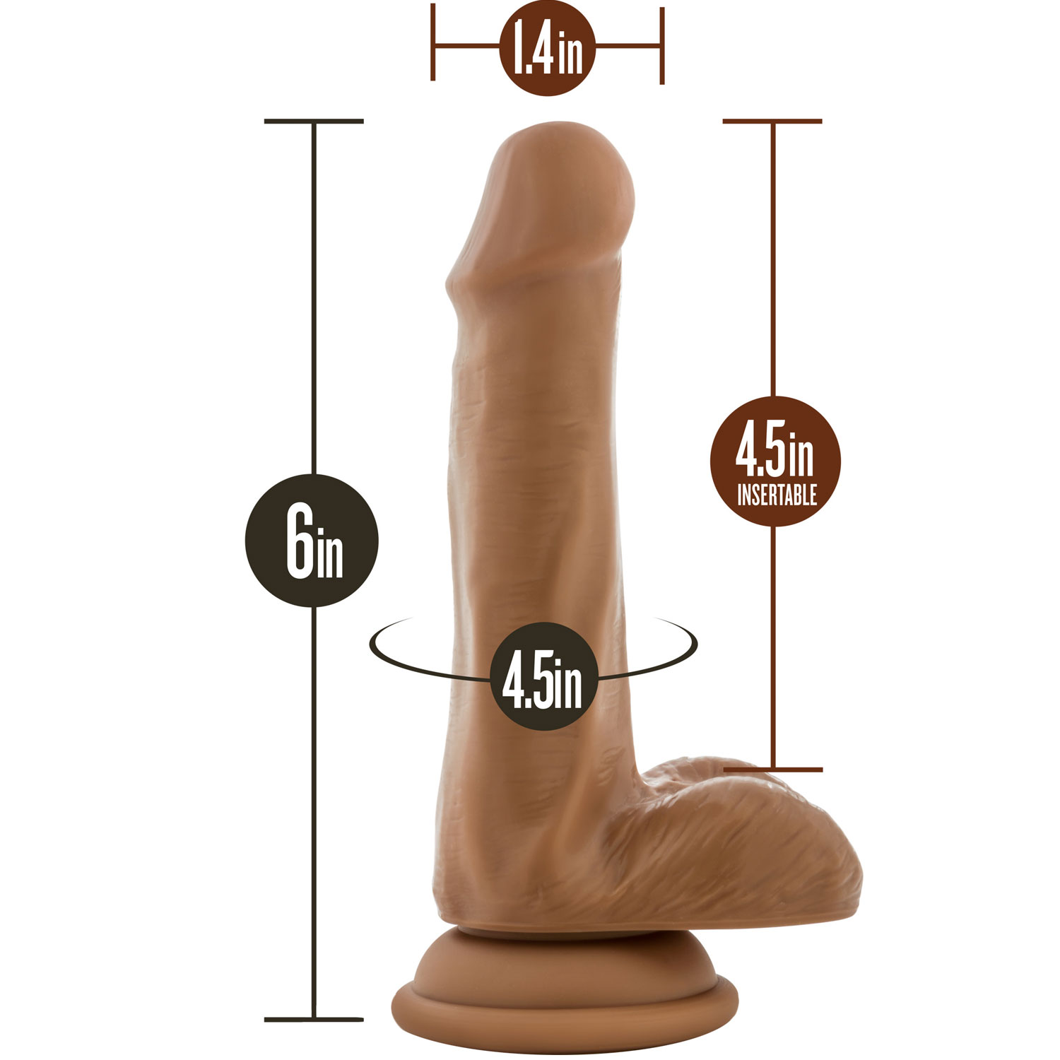 Silicone Willy's 6 Inch Silicone Suction Cup Dildo With Balls - Measurements