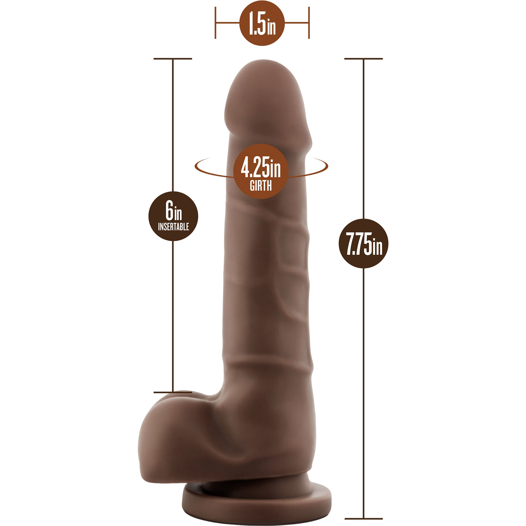 Dr. Skin Basic 7 Inch Realistic Dildo With Balls & Suction Cup by Blush - Measurements