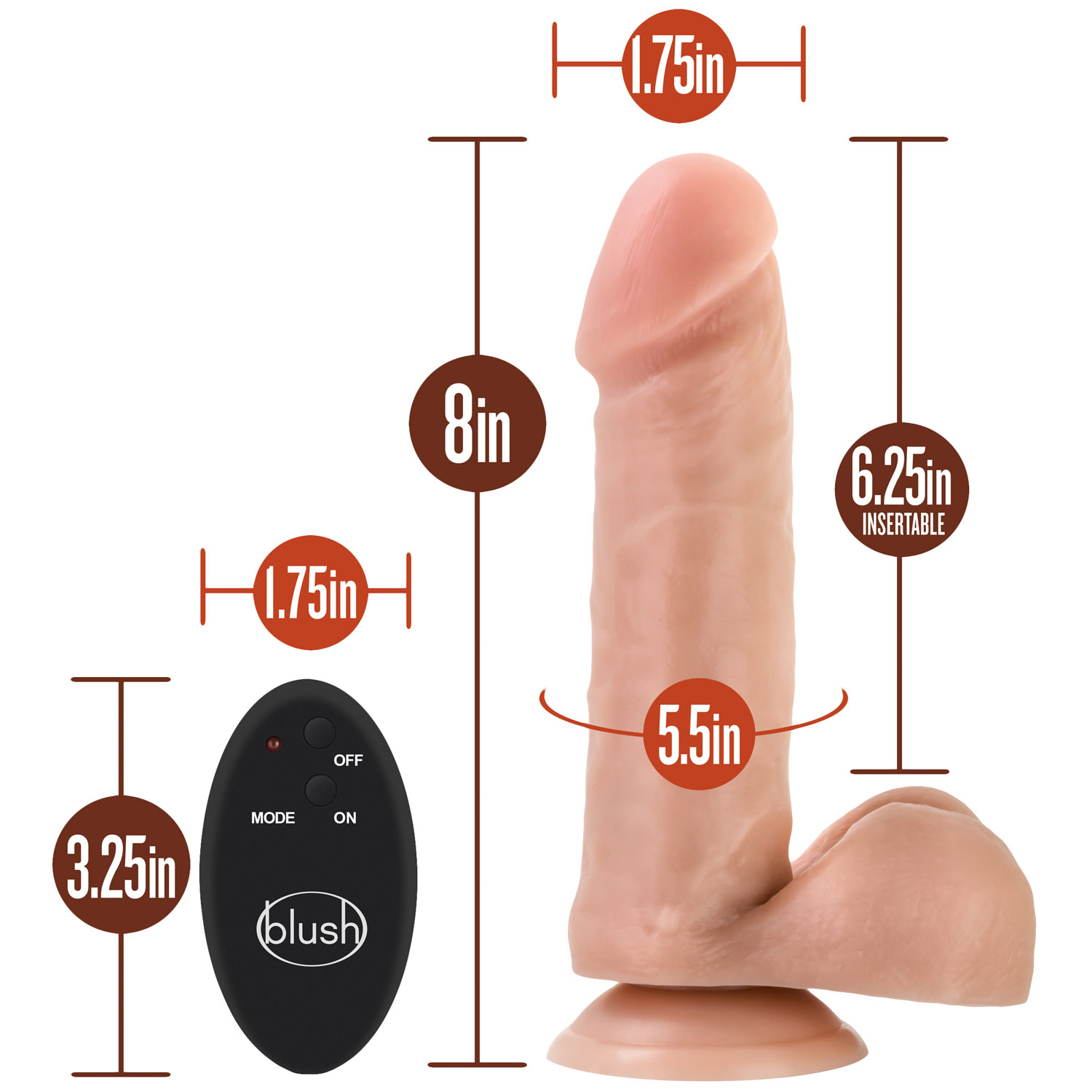 Silicone Willy's 8 Inch 10 Function Wireless Remote Silicone Suction Cup Dildo - Measurements