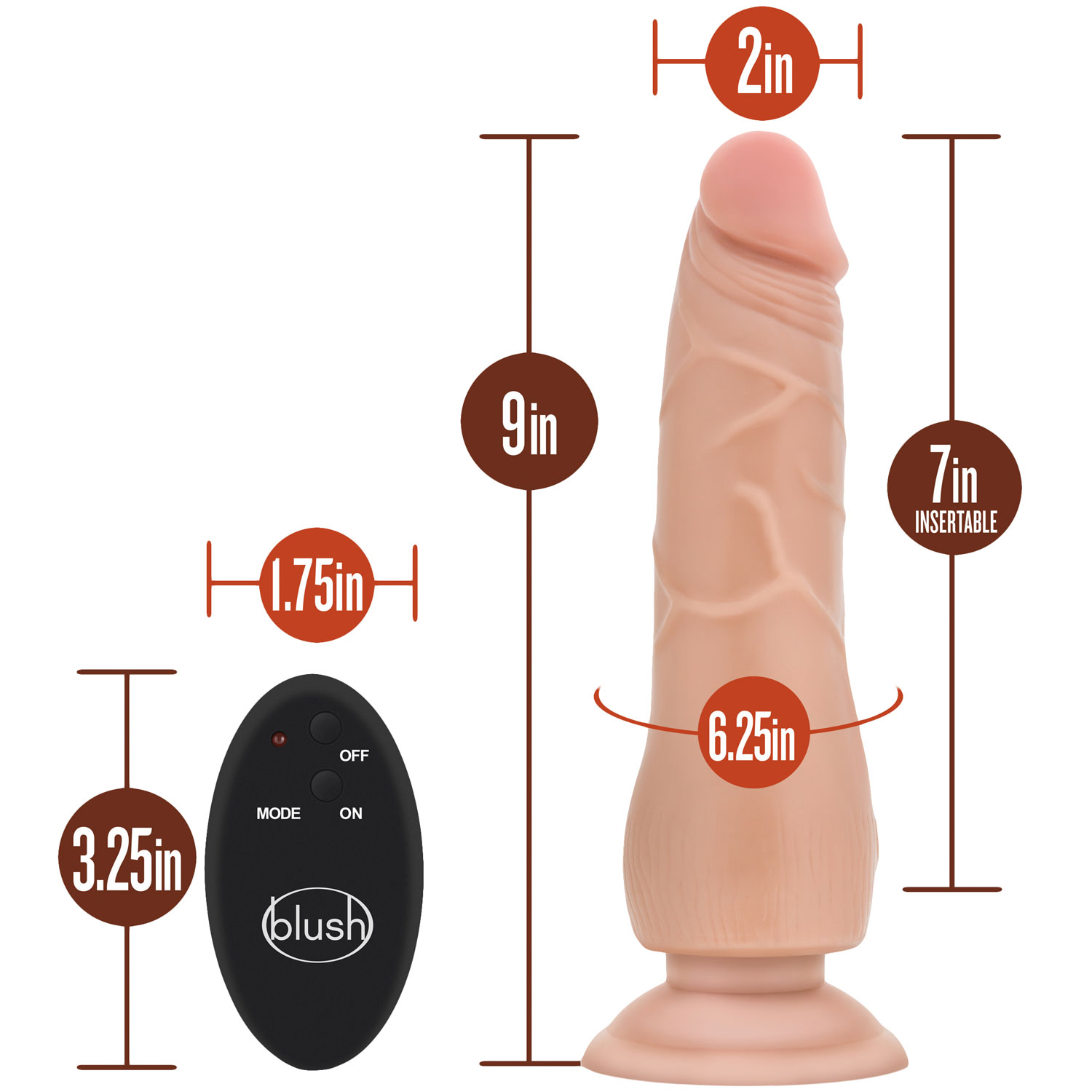 Silicone Willy's 9 Inch 10 Function Wireless Remote Silicone Suction Cup Dildo - Measurements
