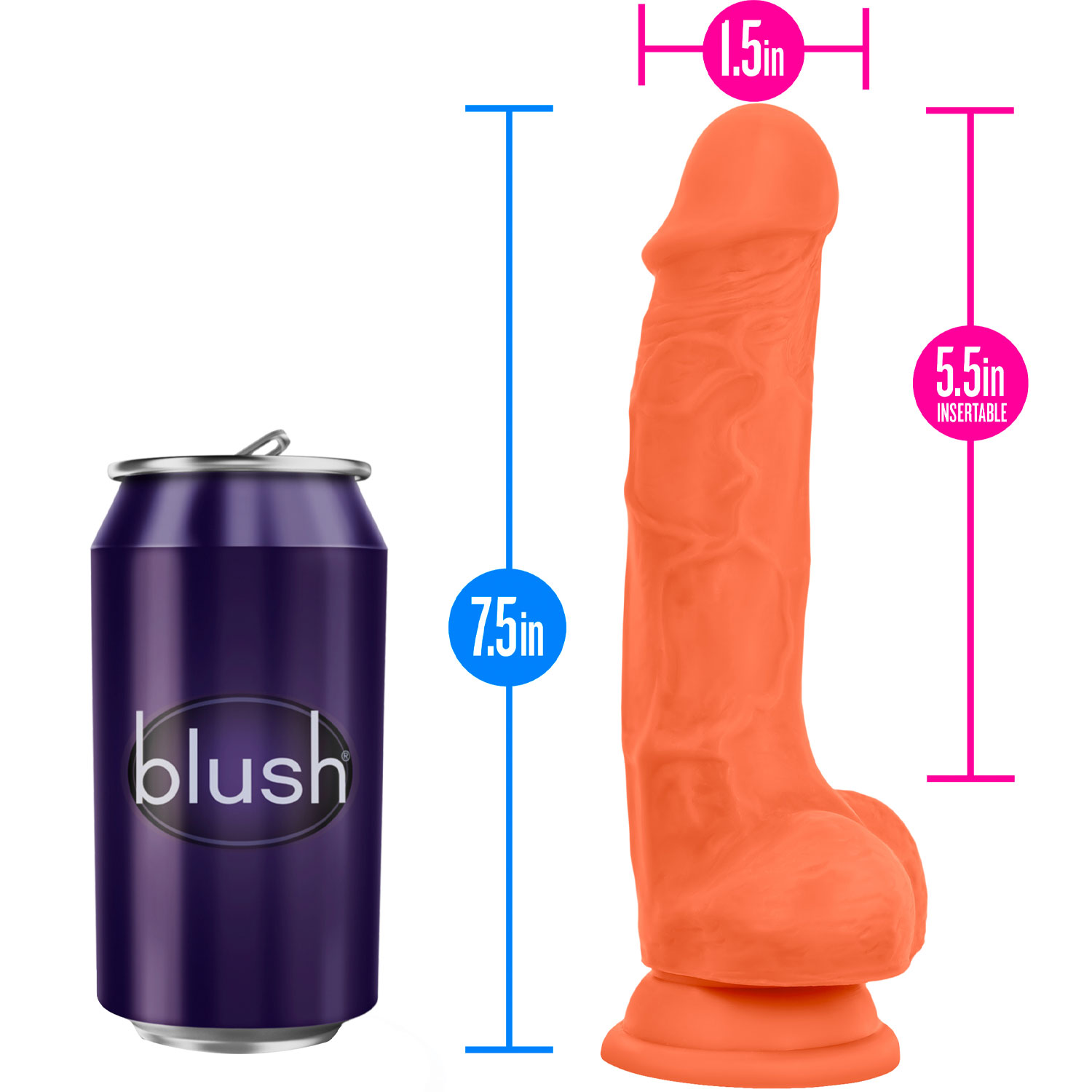 Neo Elite 7.5 Inch Dual Density Realistic Silicone Dildo With Balls by Blush - Measurements