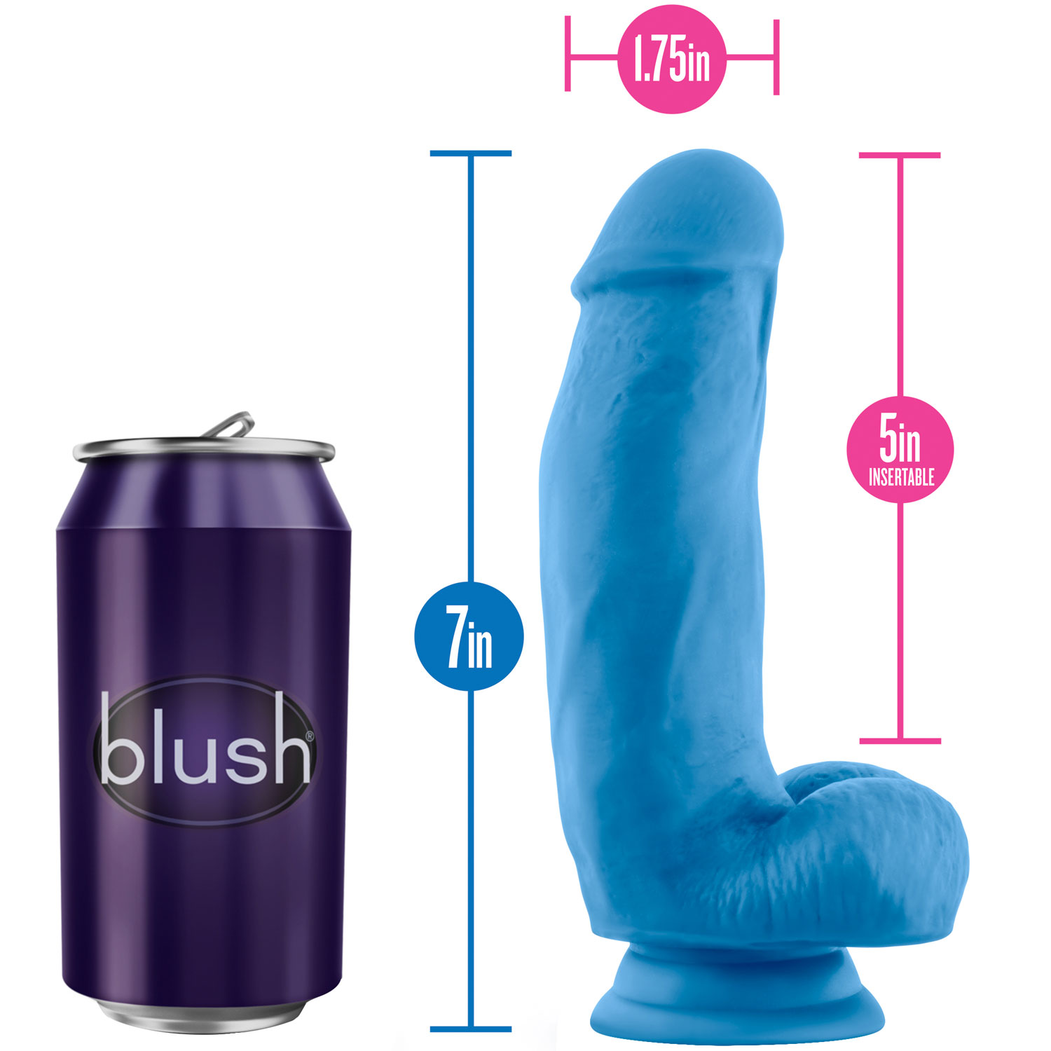 Neo Elite 7 Inch Dual Density Realistic Silicone Dildo With Balls by Blush - Measurements