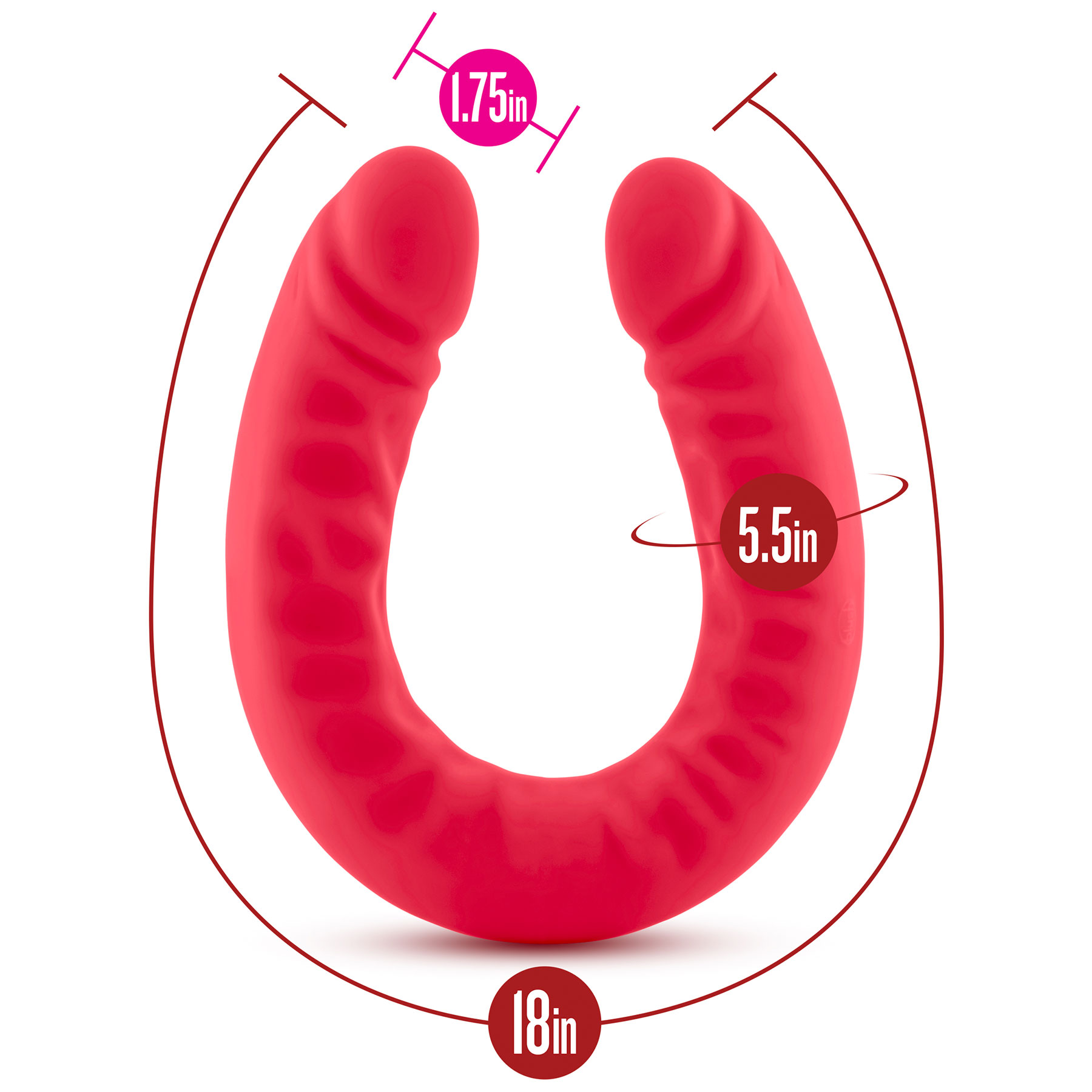 Ruse 18 Inch Silicone Double Headed Dildo - Measurements