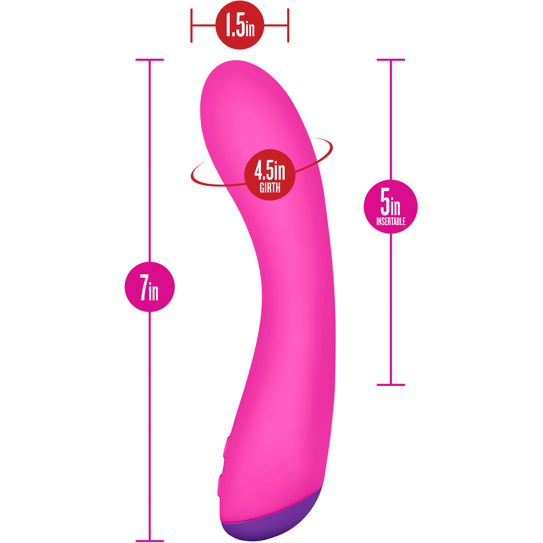 Aria Magnify Silicone G-Spot Vibrator by Blush Novelties - Measurements