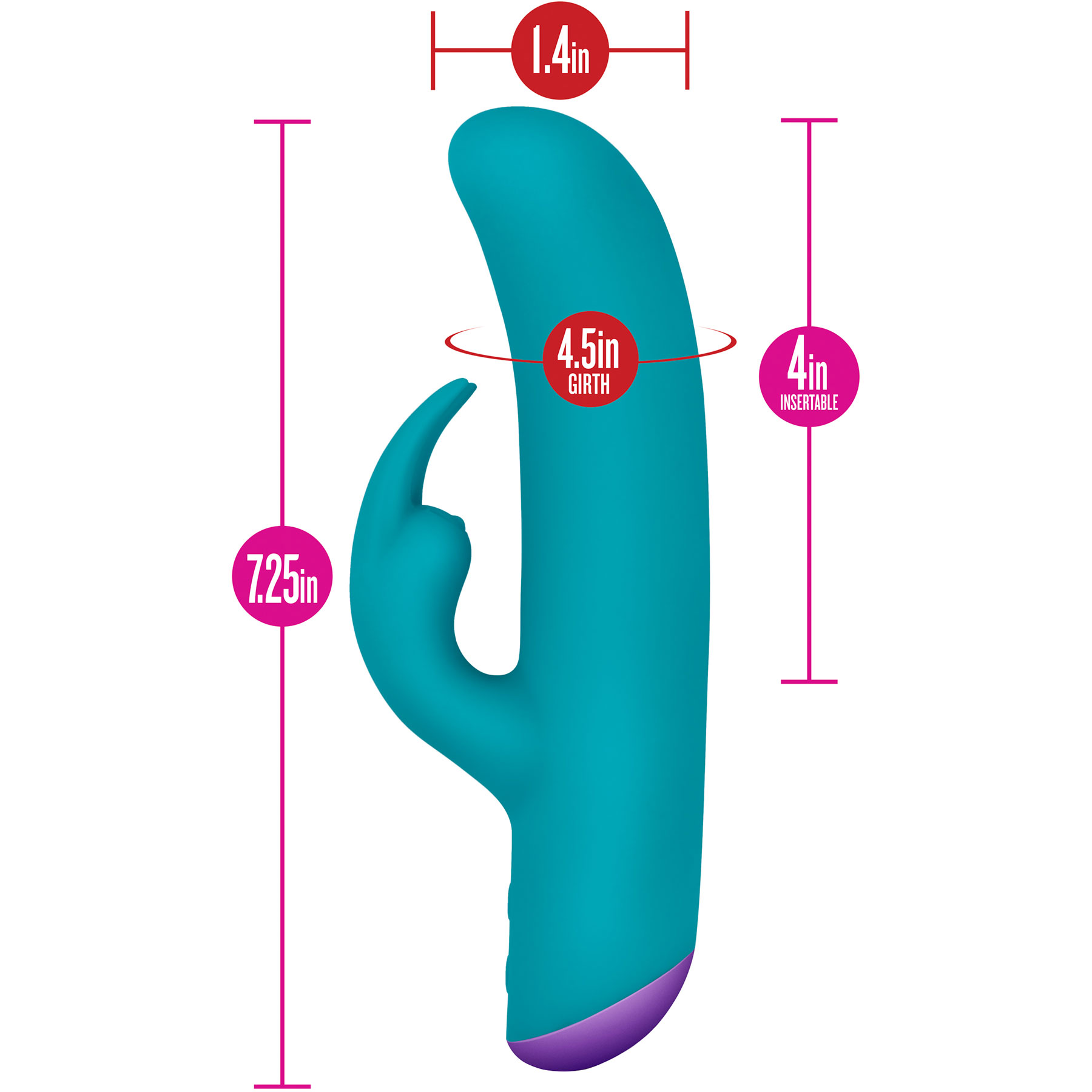 Aria Amplify Silicone Rabbit Style Vibrator by Blush Novelties - Measurements