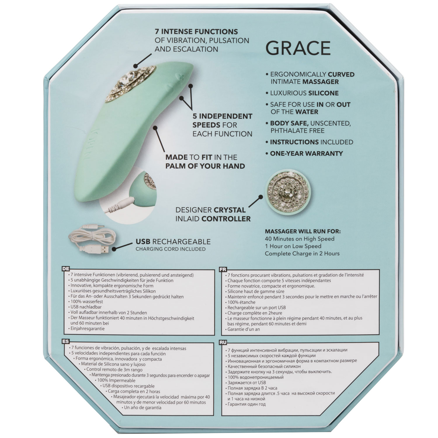 Pave Grace Rechargeable Waterproof Silicone Mini Massager - Back Of Package