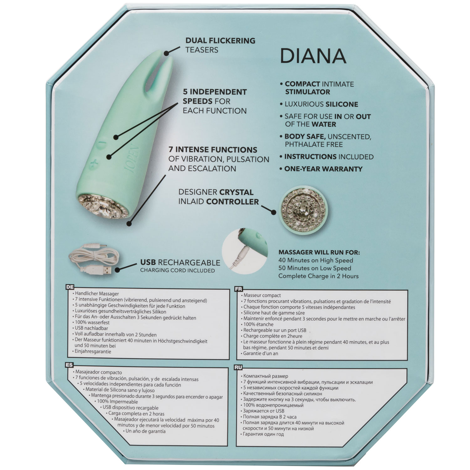 Pave Diana Rechargeable Waterproof Silicone Clitoral Vibrator - Back Of Package
